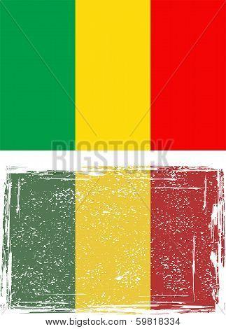 Malian grunge flag. Vector illustration.