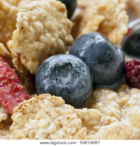 Cereal flakes with berries.  Blueberries, strawberries and raspberries, with skim milk.