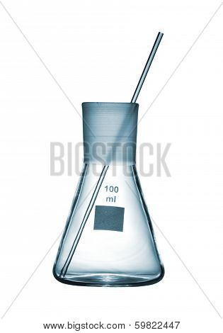 Chemical Conical Flask With A Glass Rod Isolated On White Background