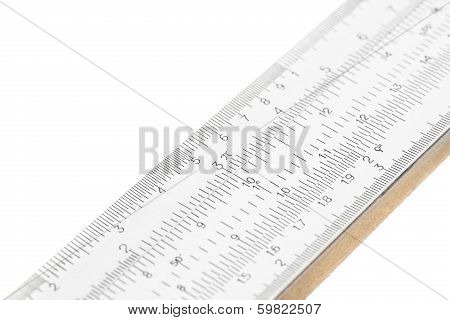 Part Of Slide Ruler Isolated On White Background