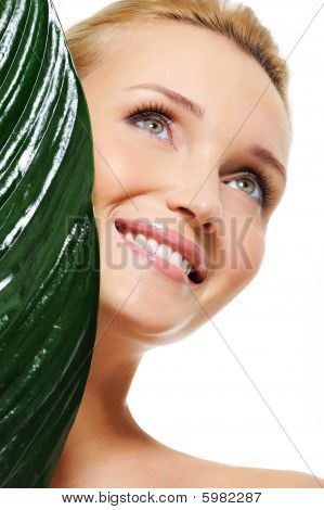 Healthy Face Of A Young Beautiful Happy Laughing Woman