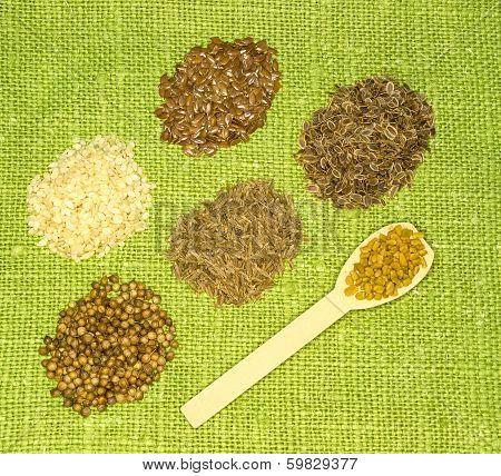 Set Of Spices On Green Leaf