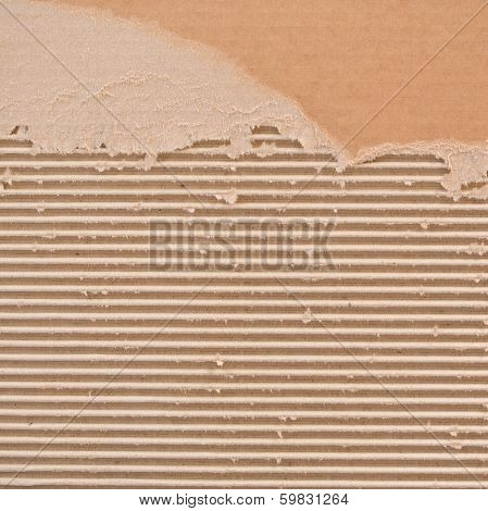 Torn corrugated cardboard.