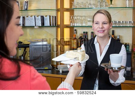 Shopkeeper In Confectionery Gives Client Cake And Coffee