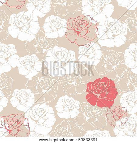 Seamless retro vector floral pattern with classic white and red roses on beige background.