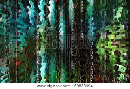 Technology background with binary code