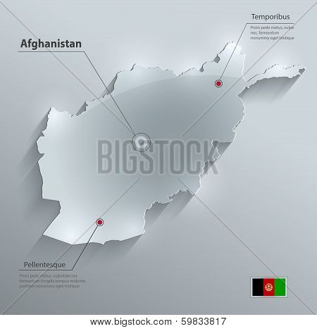 Afghanistan map flag glass card paper 3D vector