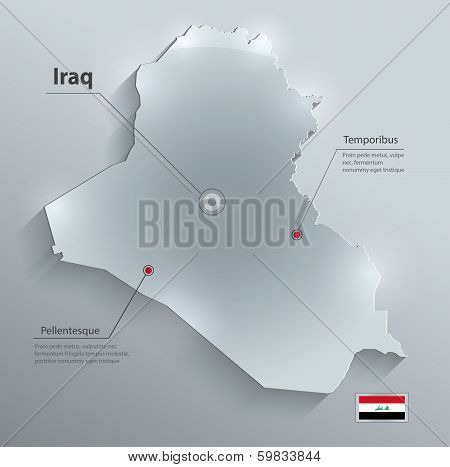 Iraq map flag glass card paper 3D vector