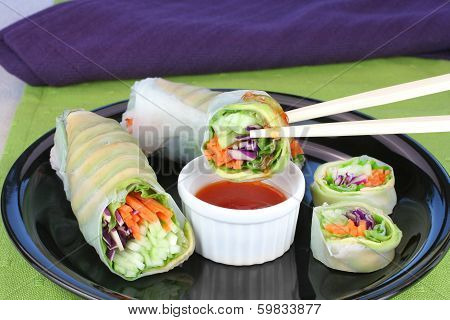 Vegetable Sushi With Dipping Sauce