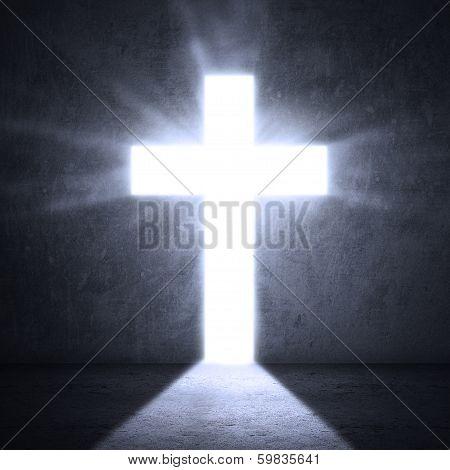 Door With Bright Cross