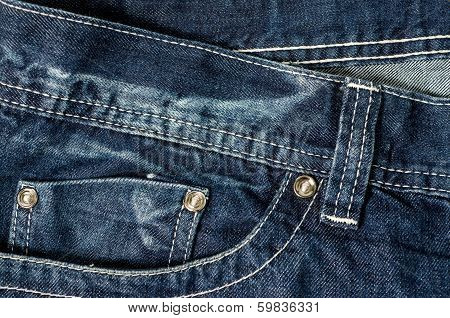 Denim Pocket Closeup ; texture background of jeans and pockets