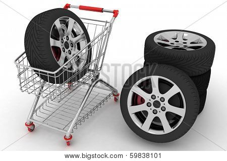 3D Shopping cart with wheels. Conception of purchase of repair parts for a car