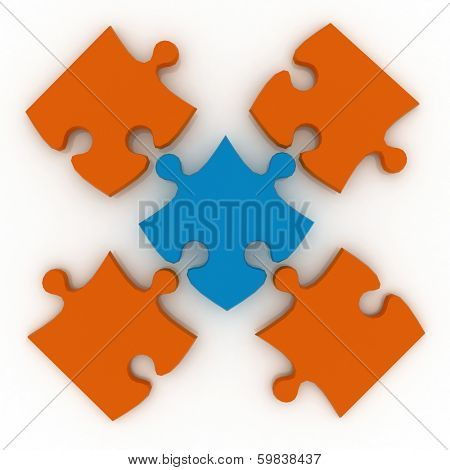 Colorful shiny puzzle. 3d illustration
