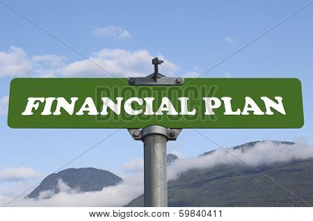 Financial plan road sign