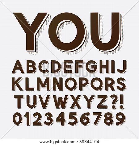 Bold Vintage Retro Font And Numbers, Eps 10 Vector