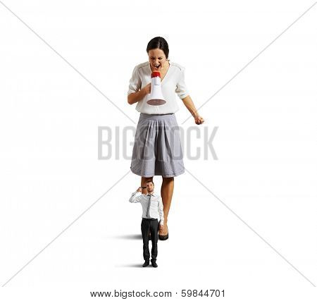 dissatisfied businesswoman screaming at small stressed man with gun. isolated on white background