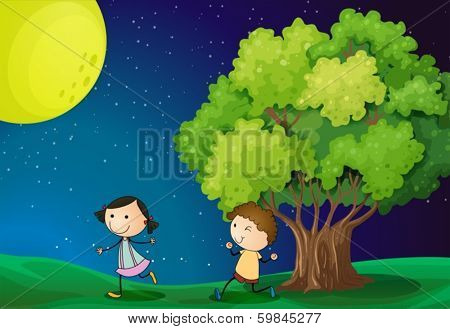Illustration of a girl and a boy playing under the bright fullmoon