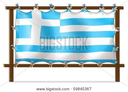 Illustration of the flag of Greece attached to the wooden frame on a white background