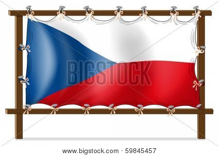 Illustration of the flag of Czech Republic attached to the wooden frame on a white background