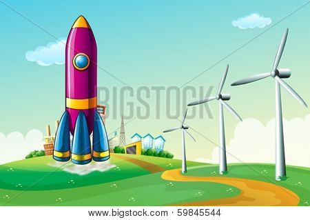 Illustration of a hilltop with a rocket near the windmills
