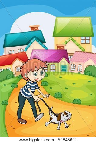 Illustration of a boy strolling with his pet