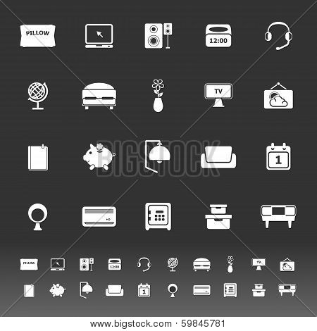 Bedroom Icons On Gray Background