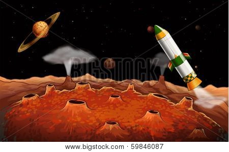Illustration of a rocket in the outerspace