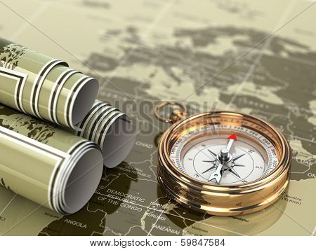 Gold compass  on world map background. 3d