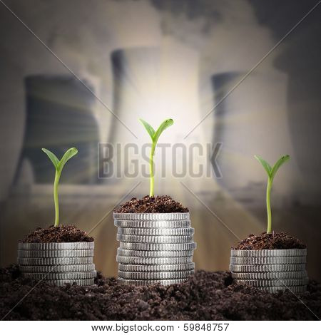 Investments in the energy industries. Business metaphor.