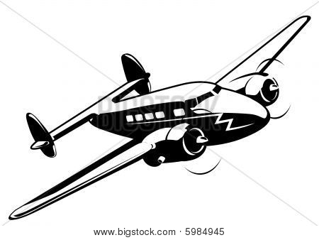 Vector cartoon retro airplane