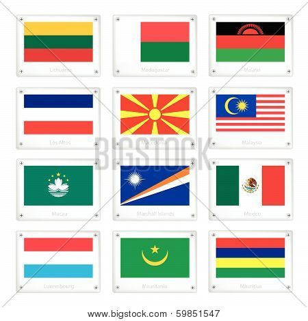 Group Of National Flags On Metal Texture Plates