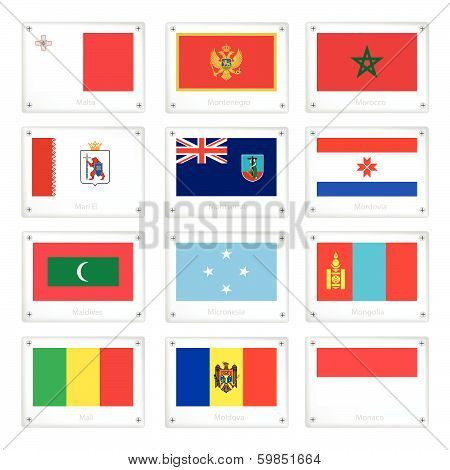 Official National Flags On Metal Texture Plates