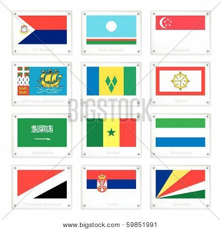 The Countries Flags On Metal Texture Plates