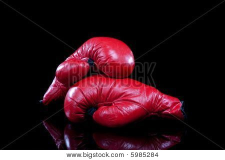 Pair Of Red Boxing Gloves On Black