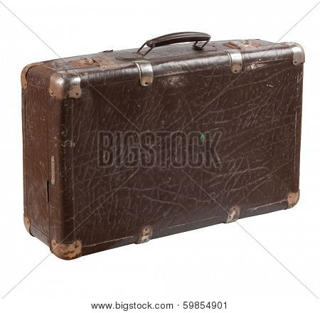Old shabby leather suitcase with rusty metal brackets on its verges. Photo isolated on white background.