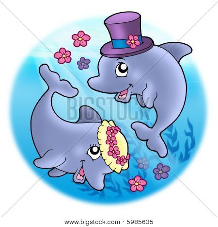 Wedding Image With Dolphins In Sea