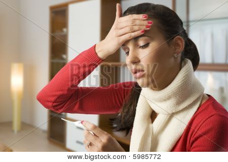Girl Touching Her Head For Fever