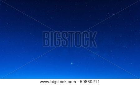Star In Blue Sky Night Time Scene