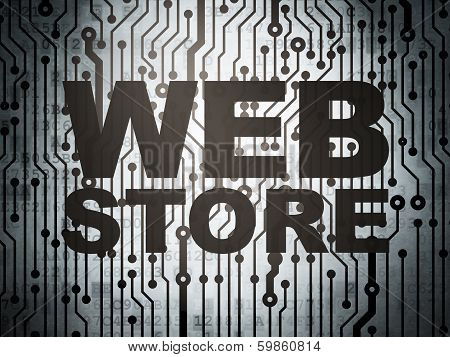 Web design concept: circuit board with Web Store