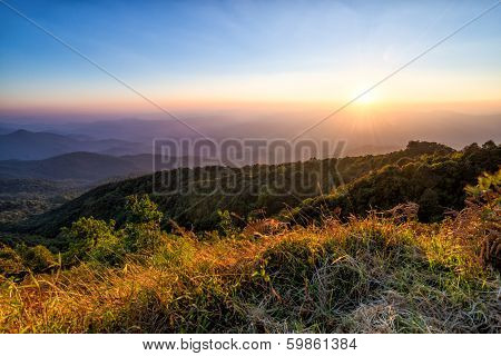 Sunset At Horizon Of Sky