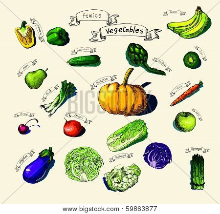 hand-painted vegetables, fruits