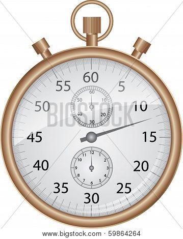 Bronze stop watch, vector illustration