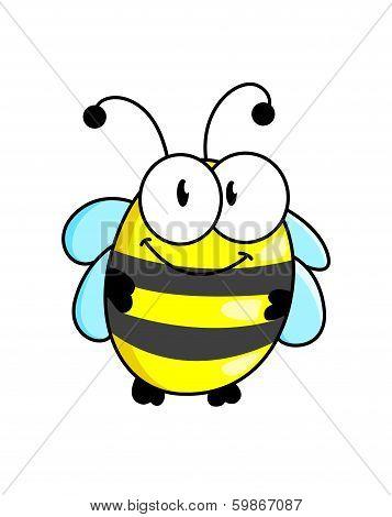Cartoon striped little bee