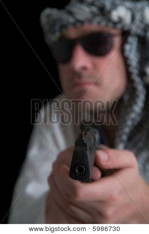 Angry Arab Man. Focus Over Gun