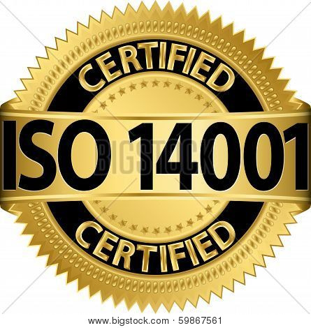 ISO 14001 certified golden label, vector illustration