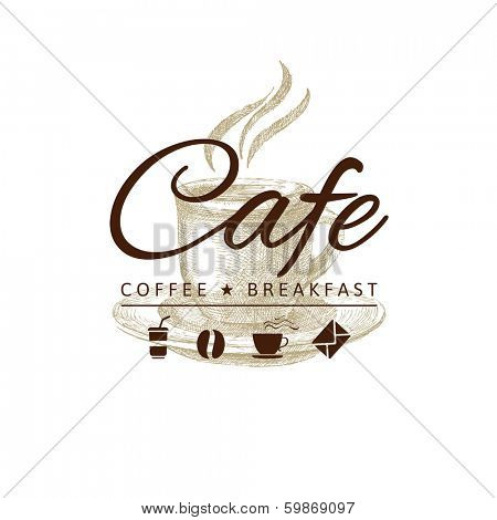 cafe logo with hand drawn coffee cup
