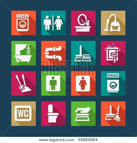 flat cleaning icons set