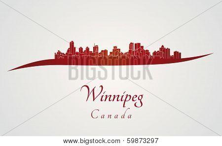 Winnipeg Skyline In Red