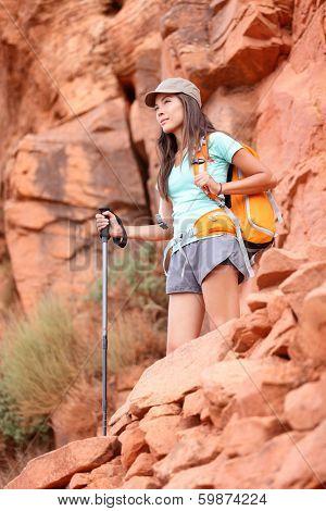 Hiker. Hiking woman enjoying view during hike in Grand Canyon, USA