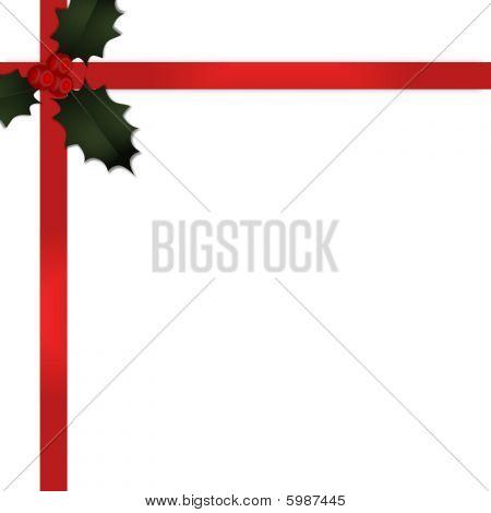 Christmas Gift Ribbon With Holly V2